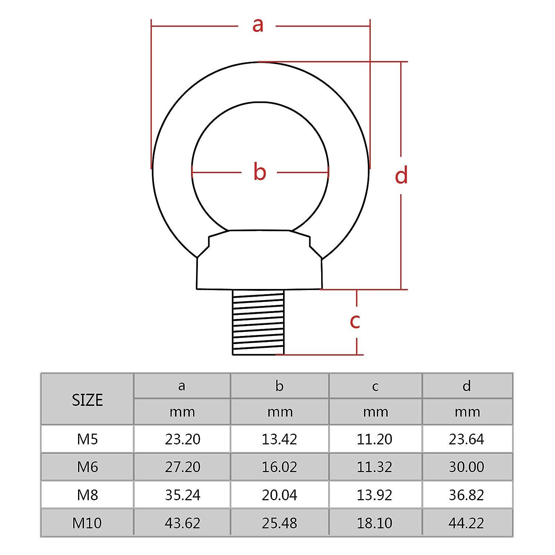 Pack de 5 M10 Filetage en acier inoxydable 304 Diam/ètre /œil fruits ronde anneau de levage