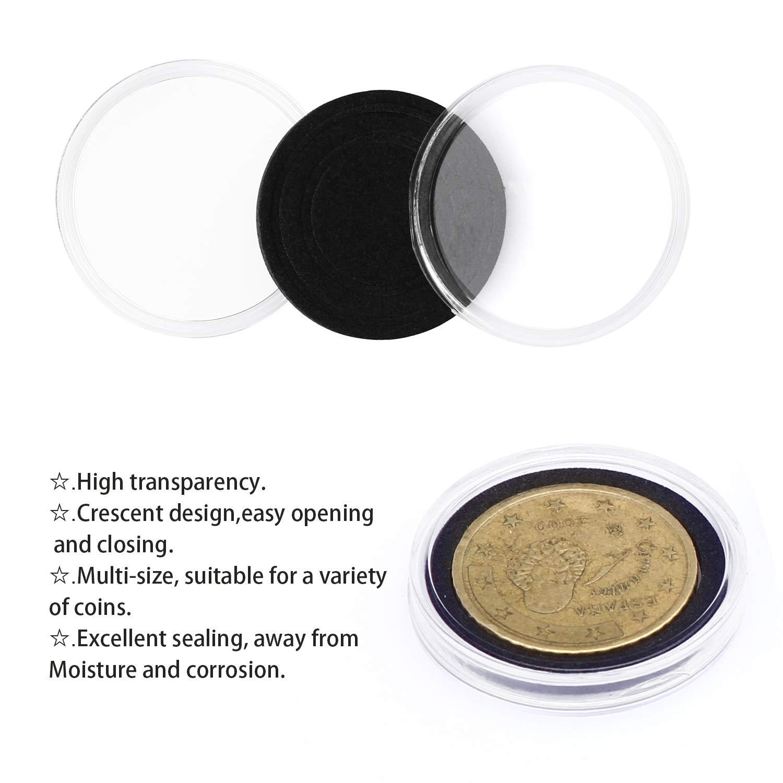 50pcs 3 Sizes Round Coin Capsule Holder Storage Container Wooden Box Organizer