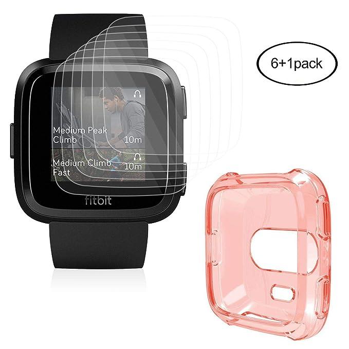 Compatible Fitbit Versa Protector De Pantalla con Carcasa (6+1 Piezas),HEYSTOP Resistente a Los Arañazos,Protector De Pantalla Transparente HD Con TPU ...