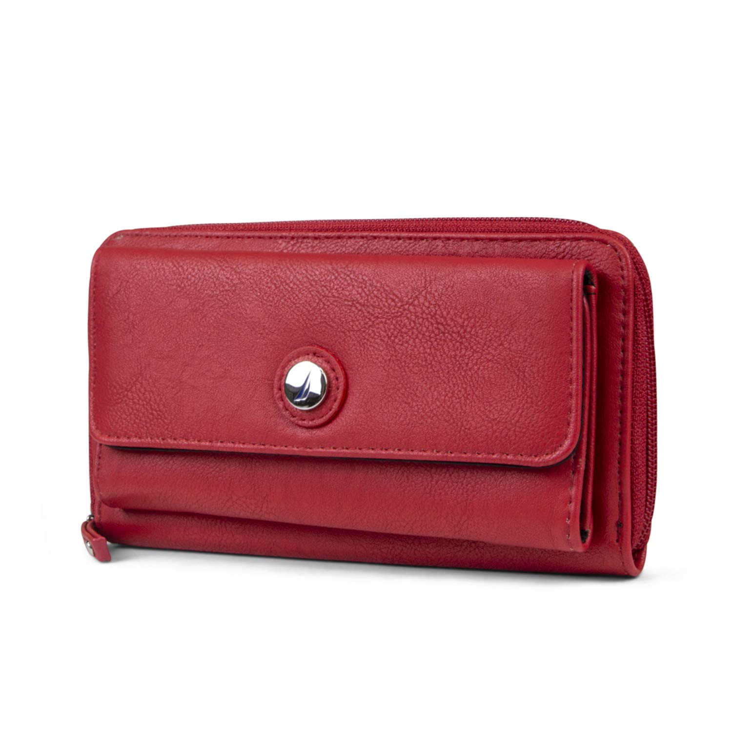 Nautica Bulk Cargo Womens RFID Wallet Clutch Zip Around Organizer (Fuego Red) by Nautica