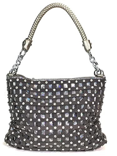 9b97b269b3 Amazon.com  Zzfab Sparkle Rhinestone Suede Hobo Handbag Pewter  Shoes