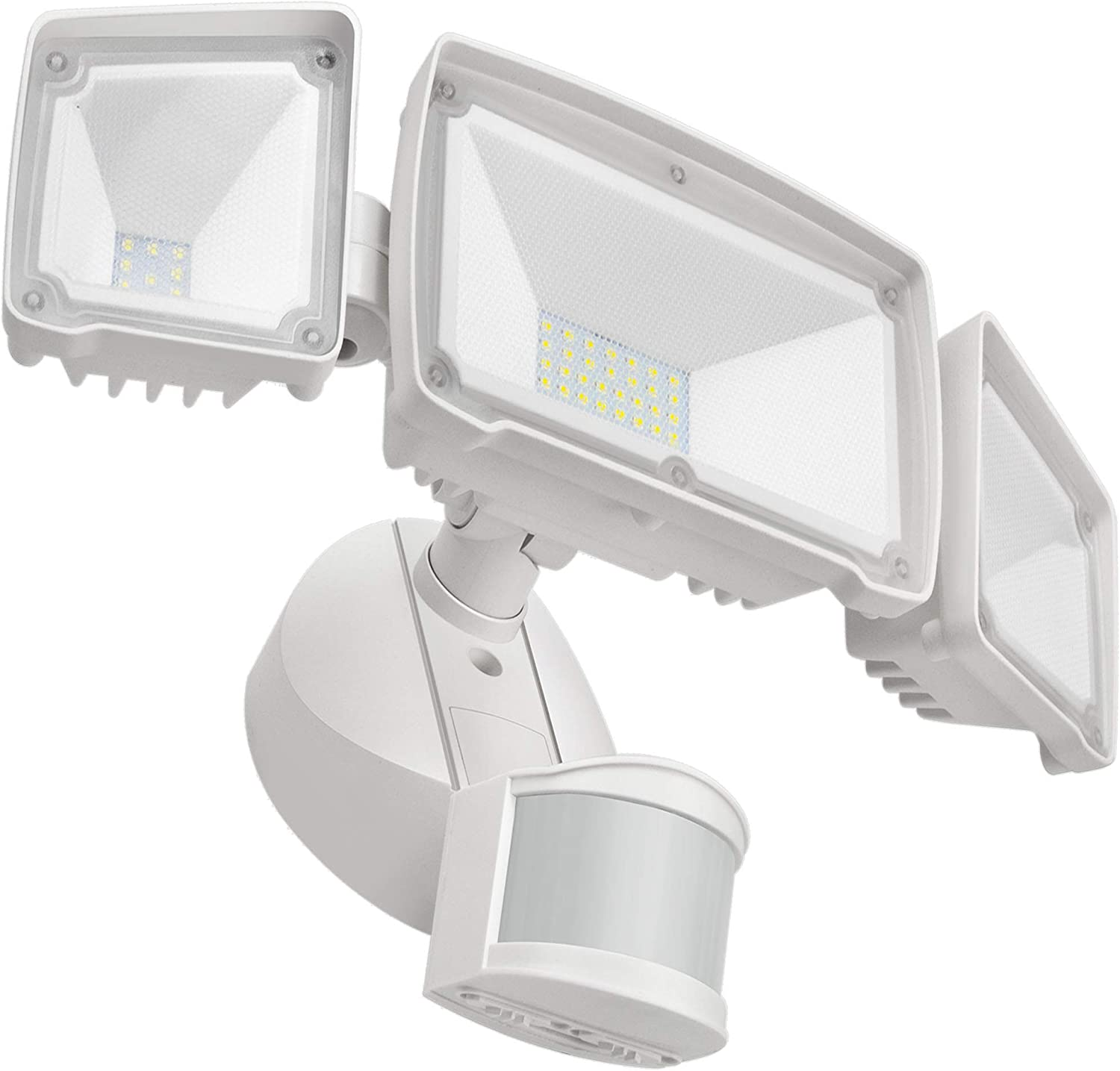 Flood Lights Outdoor Motion Sensor with 3 Adjustable Heads, AOBISI Motion Detected Wired Security LED Light, 4000LM 6000K IP65 Waterproof, ETL Certificated Light for Garage, Yard, Entryways, NOT SOLAR
