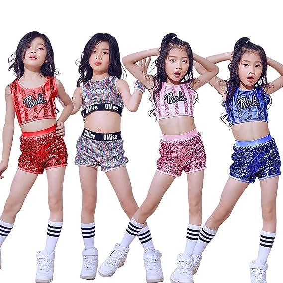 609b6165731d Amazon.com  LOLANTA Kids Sequin Jazz Tap Dancewear Outfit Crop Tops ...