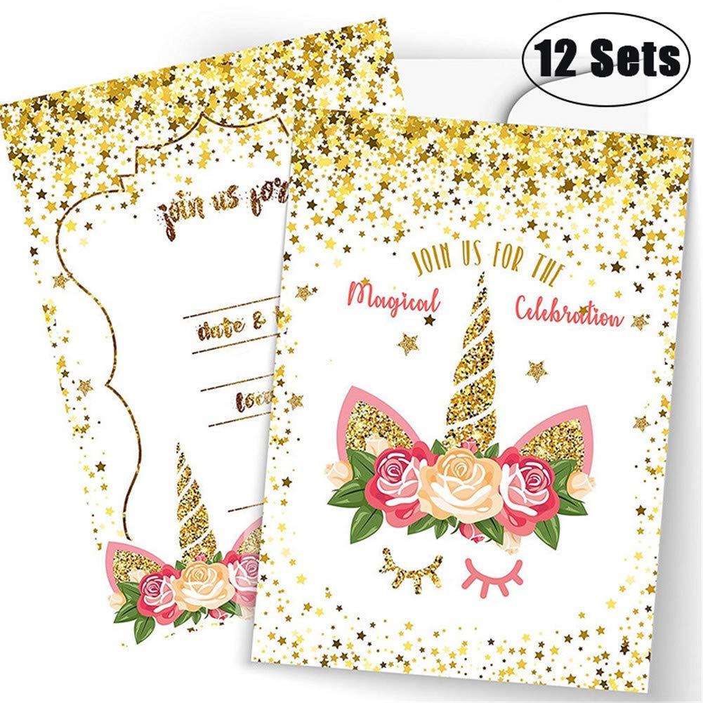 XinGe Juego de Tarjetas mágico Unicorn Invitations, Conjunto Grande Glitter Unicorn Birthday Party Supplies (12 Pcs)