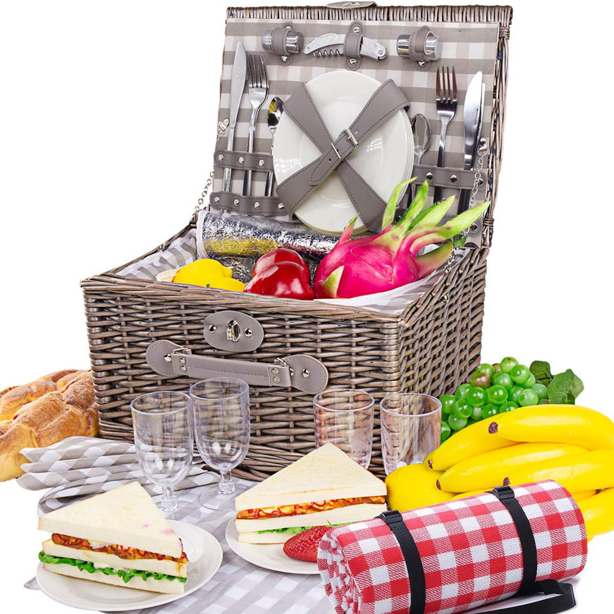 BRIAN & DANY Large Willow Picnic Basket with Deluxe Service Set for 4 Persons(Key Components Stainless Steel VS Plastic), Natural Wicker Picnic Hamper with Food Cooler & Waterproof Blanket by BRIAN & DANY