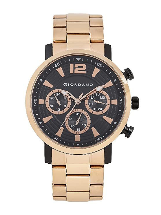 Giordano Analog Black Dial Men's Watch-1829-22 Men's Watches at amazon