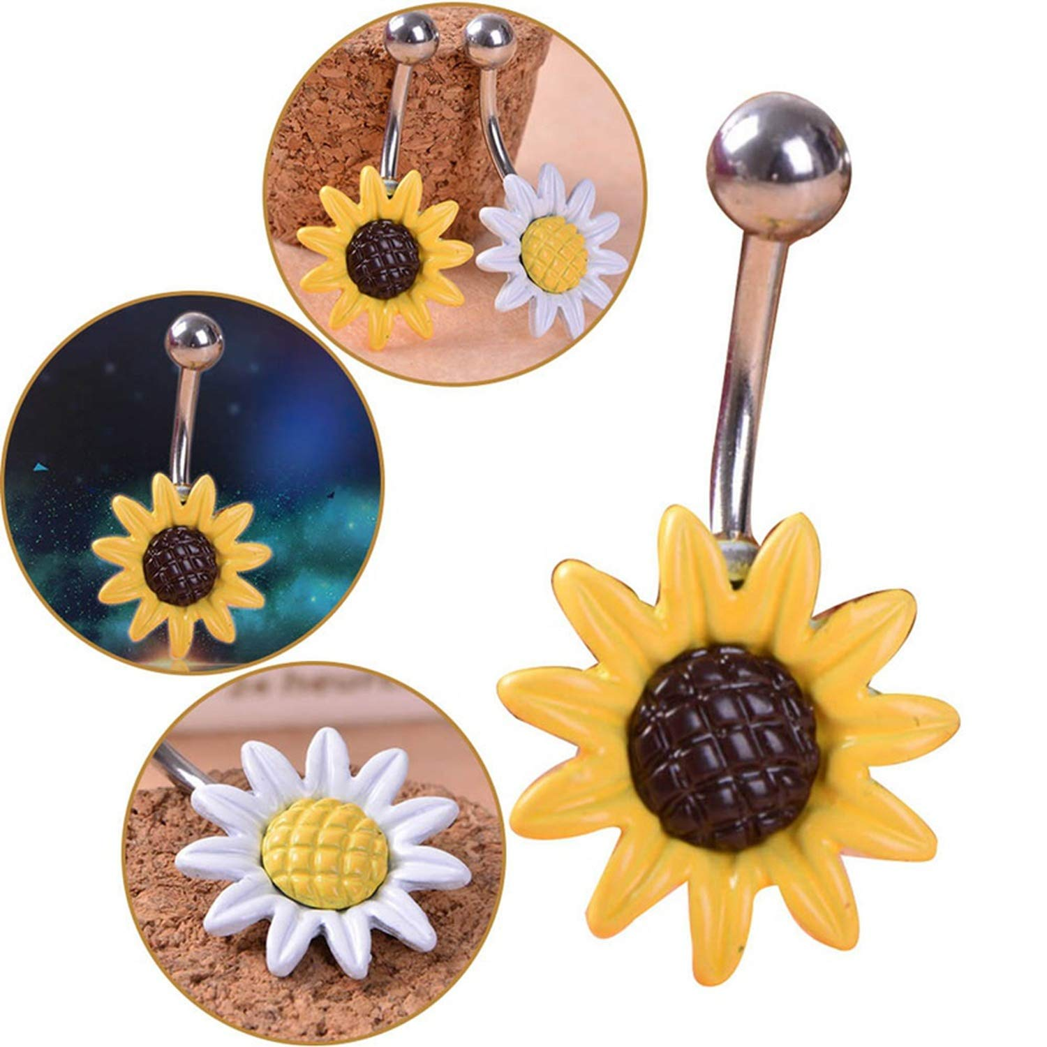Nona E Ansell Daisy Sun Flower Medical Stainless Steel Piercing Belly Button Rings Body Piercing Navel Jewelry