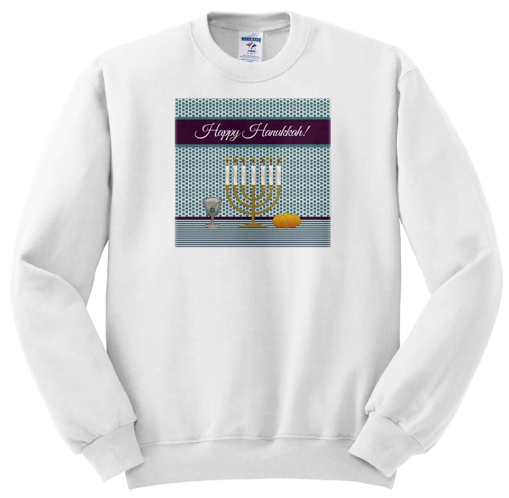 Beverly Turner Hanukkah Design - Menorah, Lighted Candles, Star of David on Kiddush Cup, Challah Bread - Sweatshirts - Youth Sweatshirt Small(6-8) (ss_301996_10)
