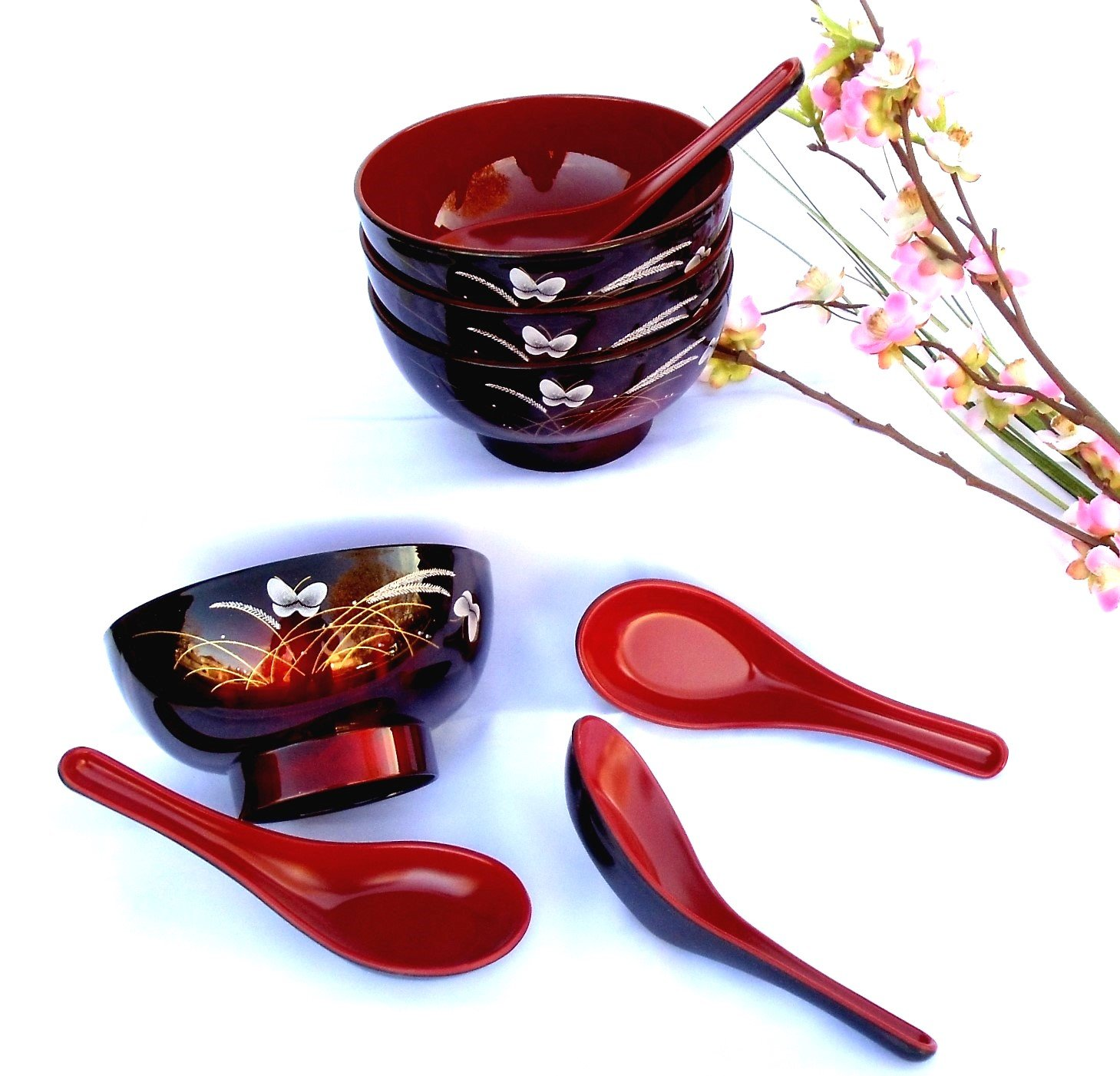 4 Butterfly Lacquer Rice Miso Soup Bowls + 4 Spoons Red/blk NEW Fuji Y61/MB and 7003JRB