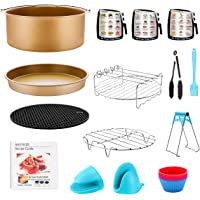 Air Fryer Accessories for GoWISE Ninja COSORI Cozyna Philips 5.3, 5.5, 5.8, 6 Qt Dishwasher Safe, Matte Gold 14PCS Gold