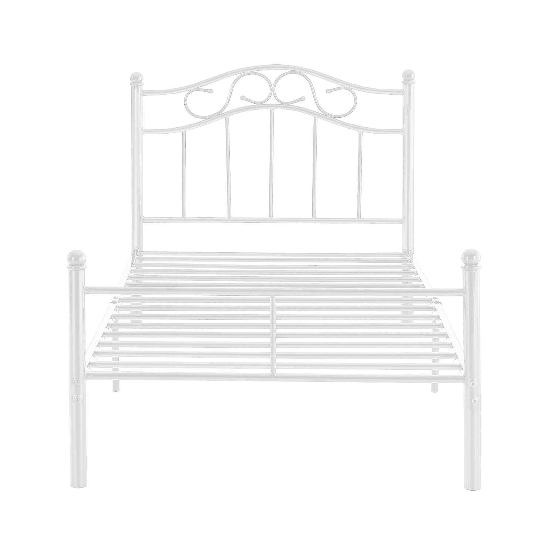 en.casa]® Cama de metal 90x200 blanca armazón cama estructura base ...