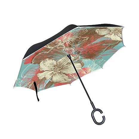 COOSUN Capa de la mano del dibujo floral de Apple Flores doble del paraguas invertido inversa