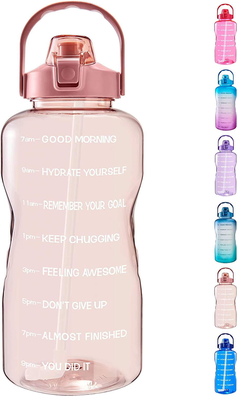 Green//Purple Gradient Carry Strap and Motivational Quote Ensure You Drink Enough Water for Fitness Leak-Proof Tritan BPA-Free Sports EYQ 1 Gallon//128 oz Water Bottle with Time Marker Camp Gym
