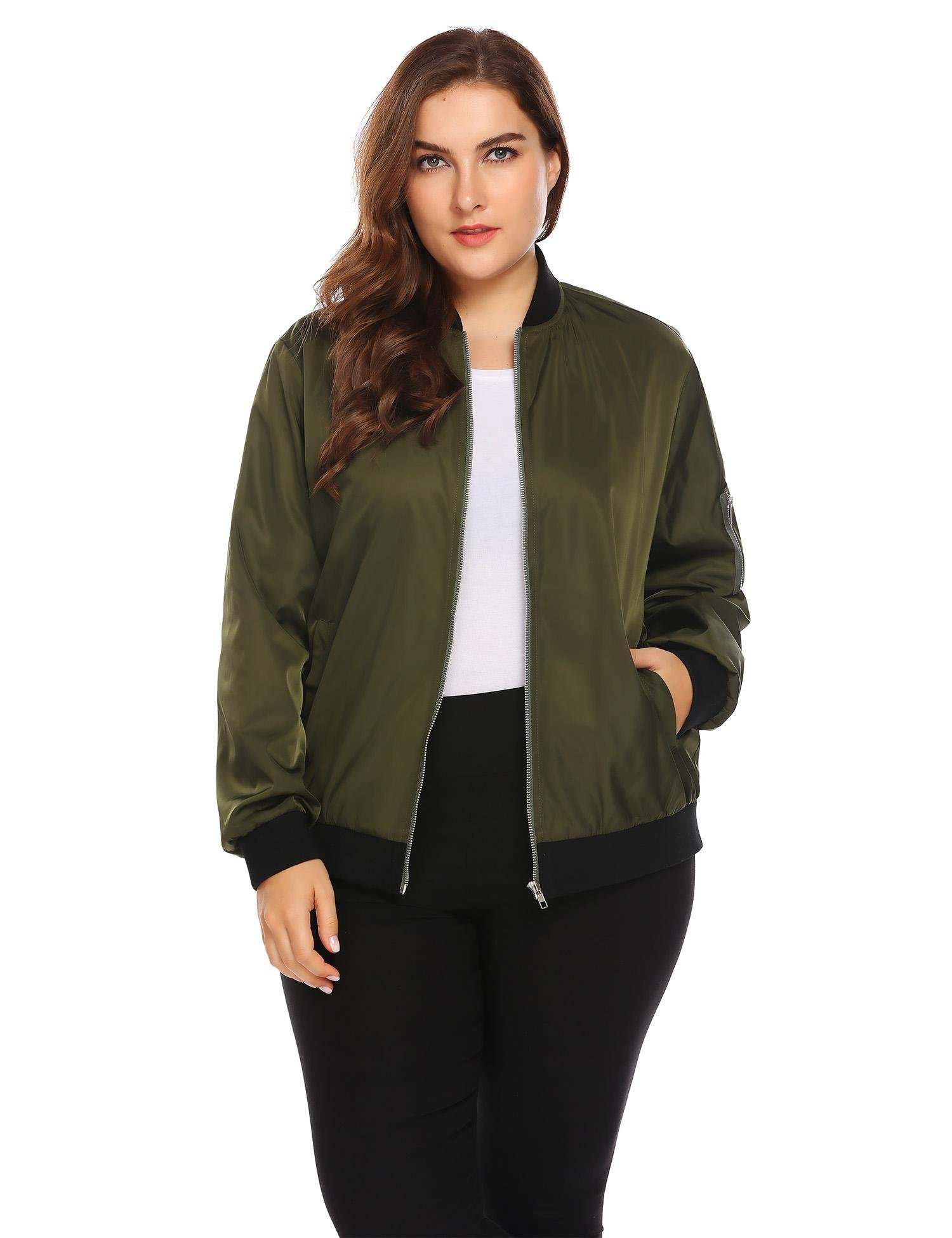Zeagoo Womens Plus Size Classic Quilted Jacket Short Bomber Jacket Coat, Military Green, 20 Plus