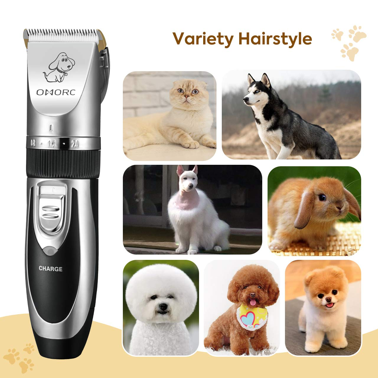 OMORC Dog Clippers Cordless Adjustable Pet Clippers Dog Hair Trimmer Rechargeable Cat Shaver Pet Grooming Professional Low Noise Dog Grooming kit with 8 Kinds Tools by OMORC (Image #10)