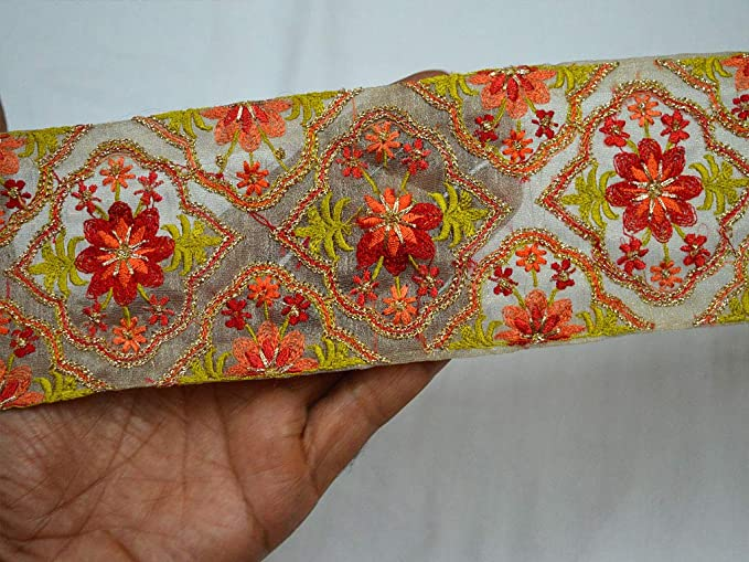 Wholesale Floral Indian Fabric Trim By 9 Yard Red Decorative Crafting Ribbon Sewing Trim Costume Lace Sari Border Embroidered Blue Trimmings