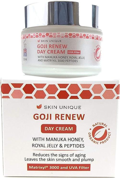 Goji renovar crema para el día 50 ml - Crema hidratante facial antienvejecimiento natural y orgánico y relleno antiarrugas con filtro UVA, Q10, miel ...