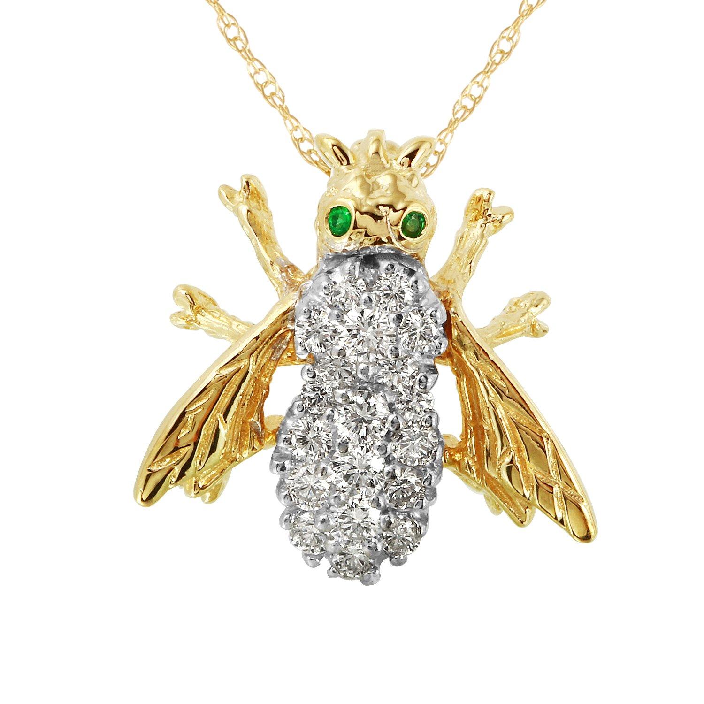 0,75carats Diamant naturel Émeraude Or jaune 14ct Broche pour femme 75carats Diamant naturel Émeraude Or jaune 14ct Broche pour femme Fashion Strada 007134