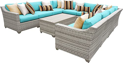 TK Classics FAIRMONT-11a-ARUBA 11 Piece Outdoor Wicker Patio Furniture Set