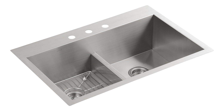 kohler k38381na vault smart divide doubleequal sink double bowl sinks amazoncom