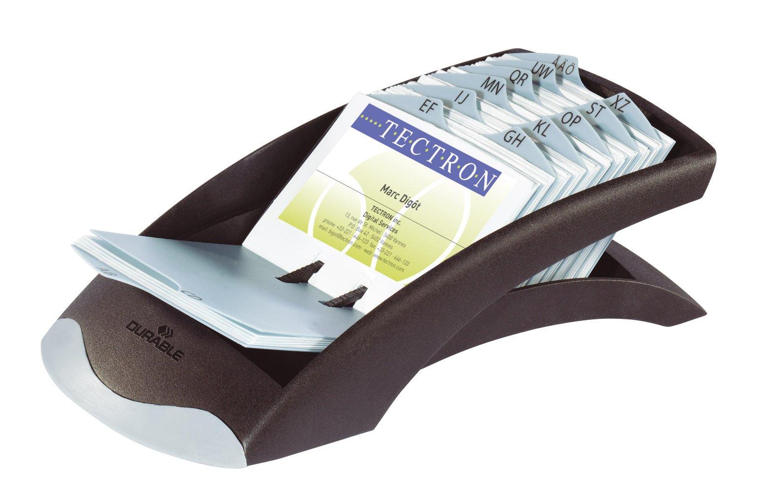 DURABLE VISIFIX Desk Business Card File, 100 Pockets, A-Z Guides, Graphite/Black (241301) by Durable