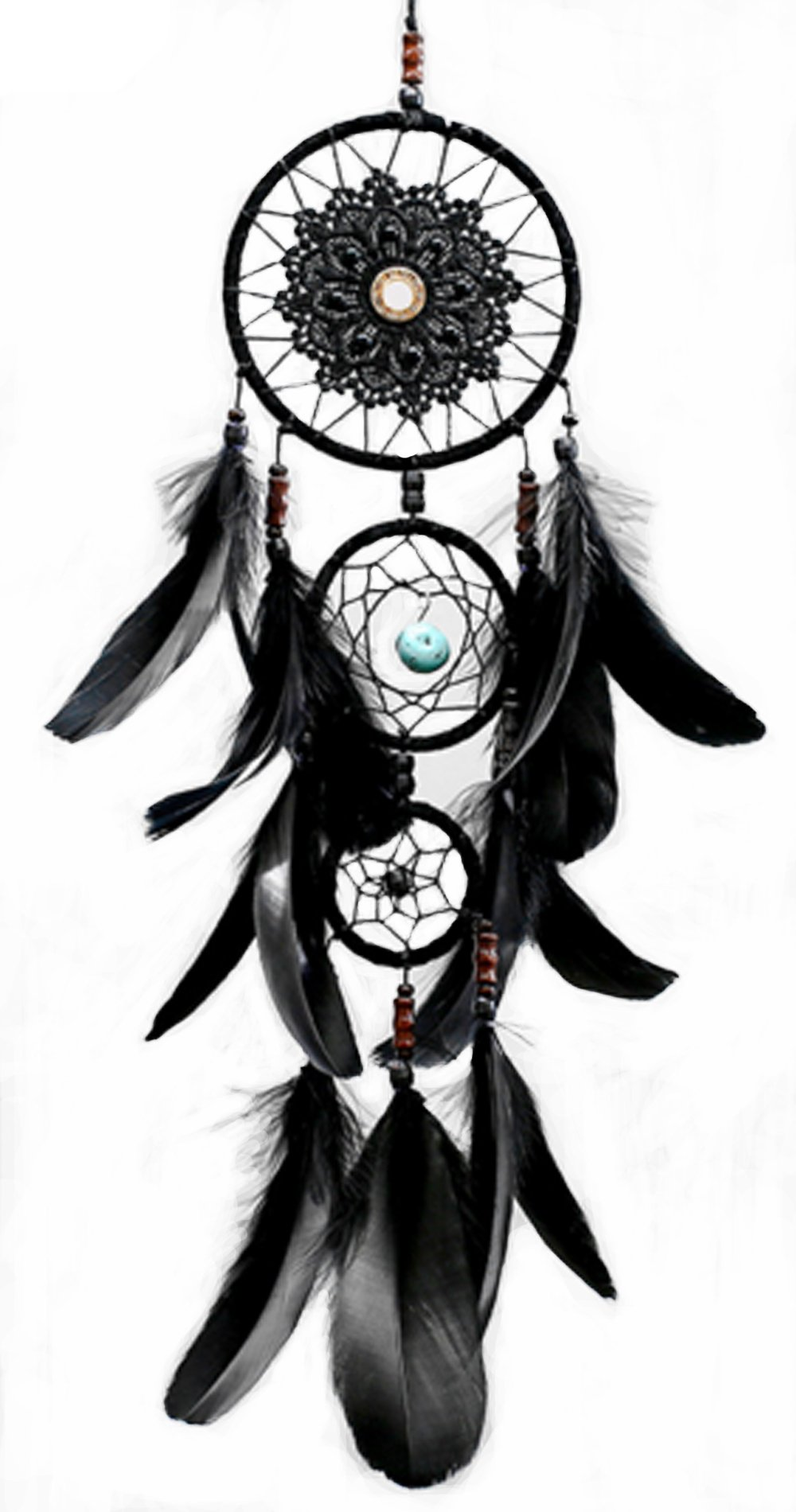 DOFE Handmade Dream Catcher, Dream Catchers with Lace and tassels,Small Dream Catchers for room decoration.Best Gift for Girls. (Black)