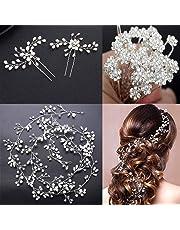 CHUMIRRYKIDS Crystals Bridal Wedding Jewelry Hair Accessories for Women, 1 Pair of Crystal Rhinestone Hair Pins, 20 Pack Pearl Flower Crystal Hair Pins Clips,1 Pack Hair Headpiece Pearl