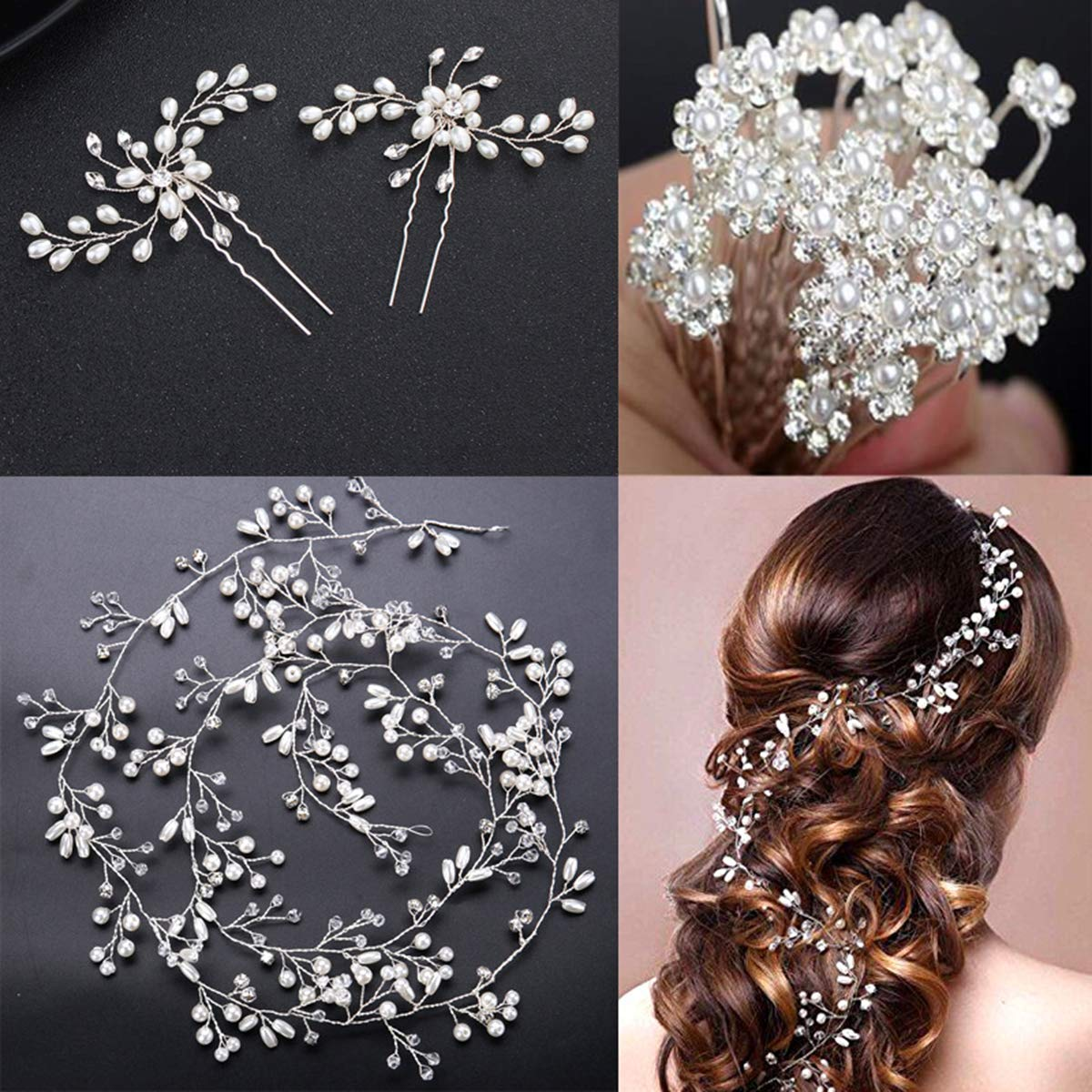 Crystals Bridal Wedding Jewelry Hair Accessories for Women, 1 Pair of Crystal Rhinestone Hair Pins, 20 Pack Pearl Flower Crystal Hair Pins Clips,1 Pack Hair Headpiece Pearl Wedding Hair Vine-Silver VVLife