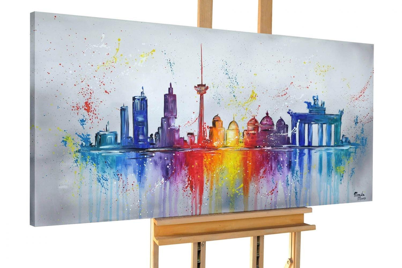 KunstLoft® Acryl Gemälde 'Reunited Capital' 140x70cm   original handgemalte Leinwand Bilder XXL   Berlin Skyline Stadt Bunt   Wandbild Acrylbild moderne Kunst einteilig mit Rahmen