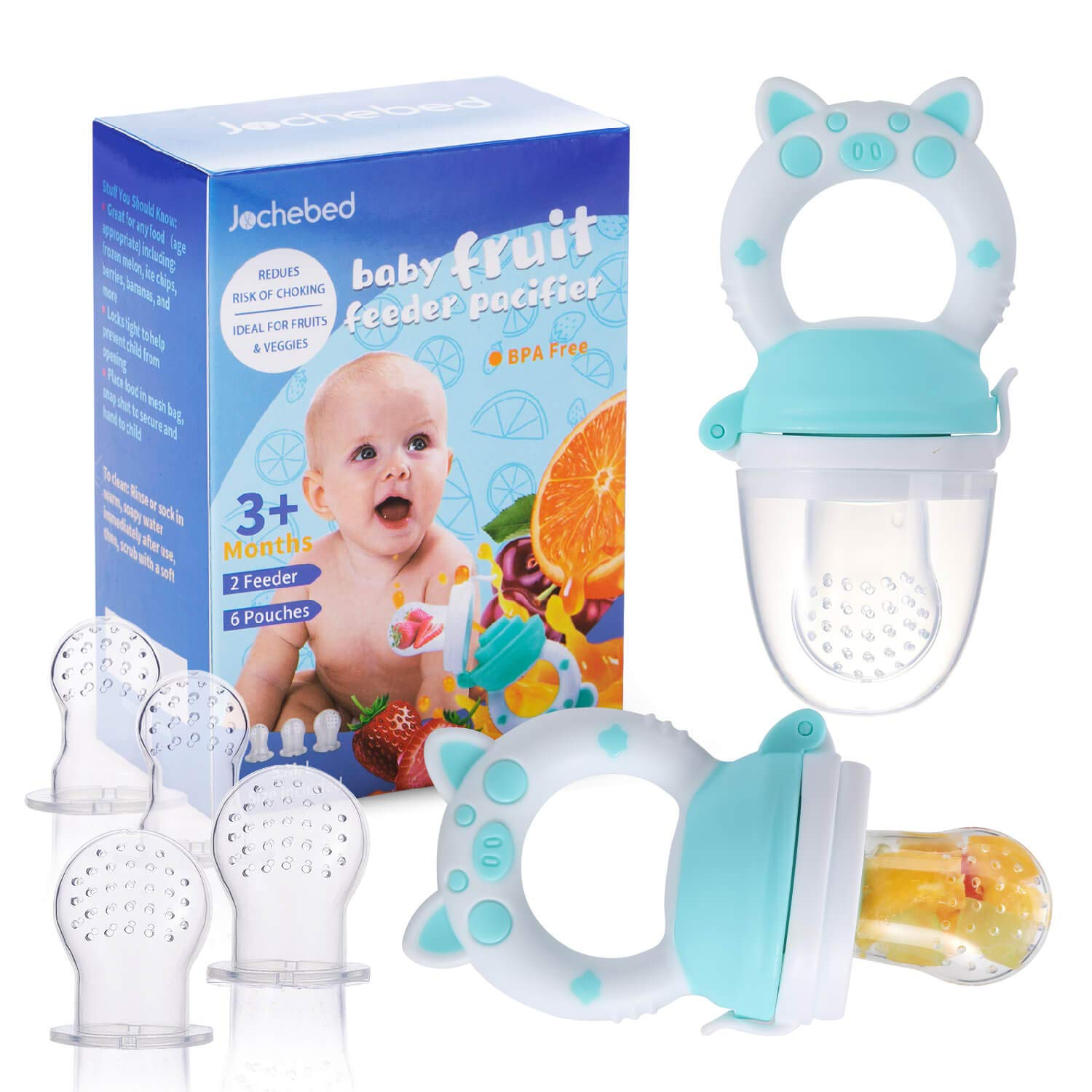 Baby Fruit Food Feeder Pacifier - Fresh Teething Pacifiers, Infant Fruit Teething Teether Toy for 3-24 Months, 6 Pcs Silicone Pouches for Toddlers & Kids & Babies, Piggy Handle 2-Pack (Blue)