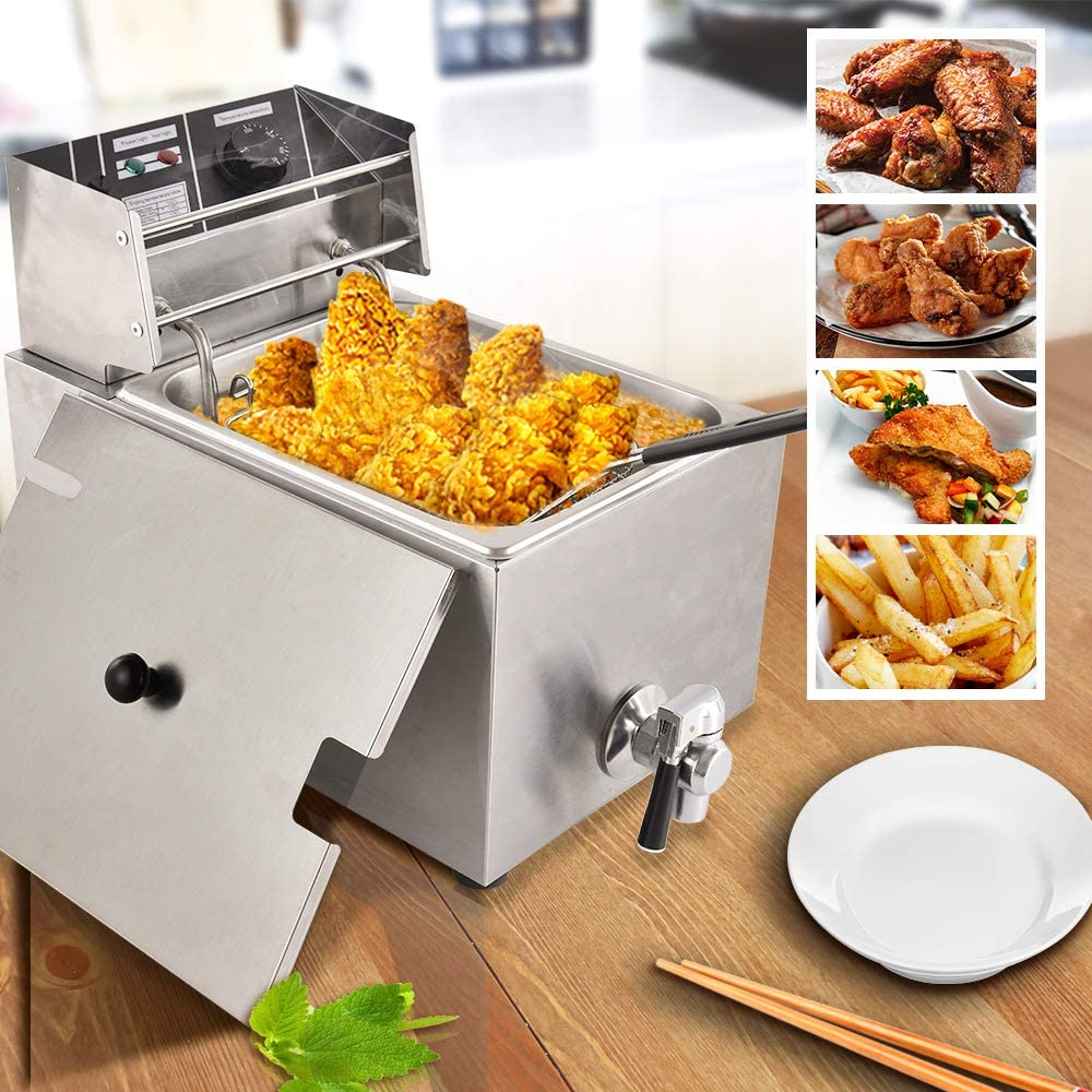 Electric Deep Fryer 8L,Upgraded Version Automatic oil drain-110V Countertop Kitchen Frying Machine,Commercial Electric Deep Fryer -With oil valve and temperature lir, with Large Handle and Lid Cover for fried chicken , French Fries, Donuts (8L)