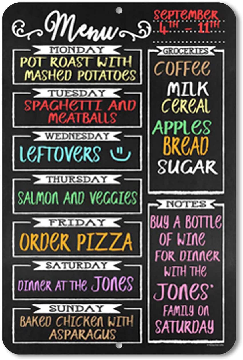 Food Service Equipment Supplies Chalkboard Style Menu Board For Kitchen Tin Weekly Meal Planner Sign 12 X 17 Inches Industrial Scientific Smkbinaputracihampelas Sch Id