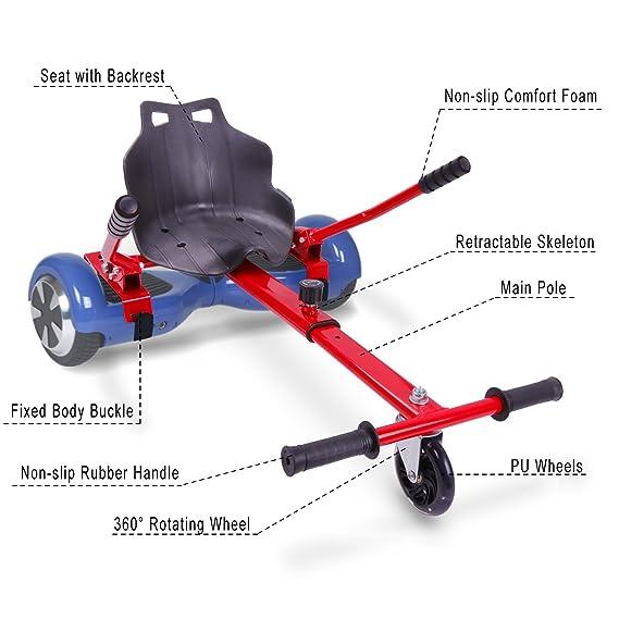 Mega Motion Asiento Kart Universal para Patinete Eléctrico Hoverboard 6.5,8.5,10 Pulgadas Longitud Adjustable