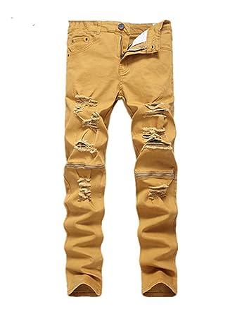 b7c341d3 Robin Santiago 2018 New Arrival Khaki Biker Jeans Pleated Design Mens  Skinny Slim Stretch Denim Pants Ripped Jeans 29-42 at Amazon Men's Clothing  store: