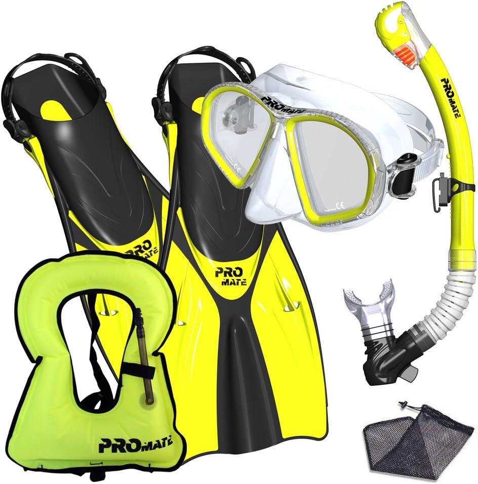 Promate Snorkeling Mask & Fins Dry Snorkel Set