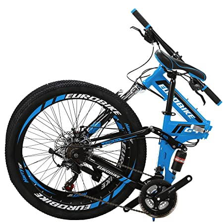 Eurobike 26 Full Suspension Mountain Bike 21 Speed Folding Bicycle Men or Women MTB