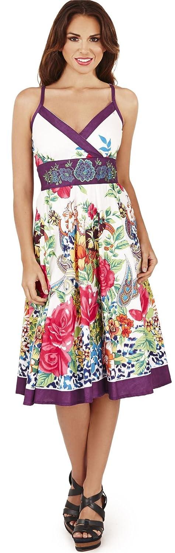 Hübsch Damen Animal Blumenmuster Cross Over Riemchen Sommerkleid Lila oder schwarz
