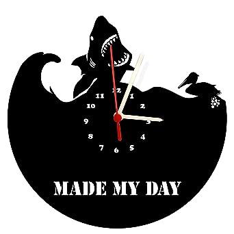 Reloj De Pared, Tiburón Fabricado My Day, diseño Tocadiscos Reloj ...