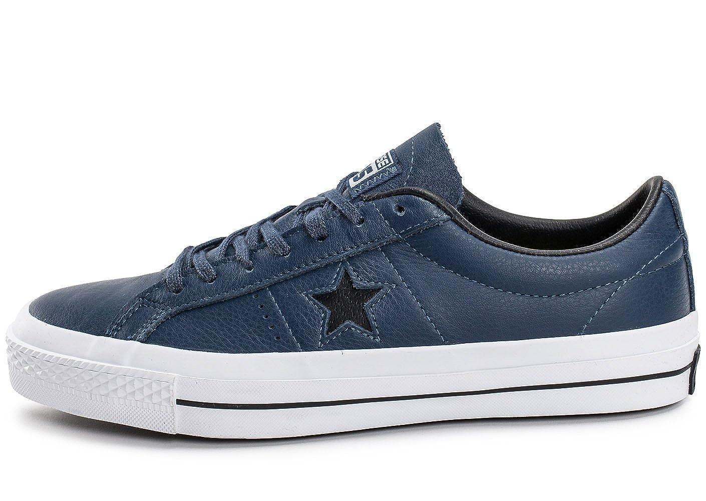 Converse One Star Star Star Leather Bleu Marine Bleu 44 eb6063