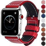 Fullmosa コンパチ Apple Watch バンド ベルト アップルウォッチバンド38mm 42mm Fullmosa apple ウォッチ4(40mm)3 2 1バンド 本革レザー 交換バンド レッド 38mm