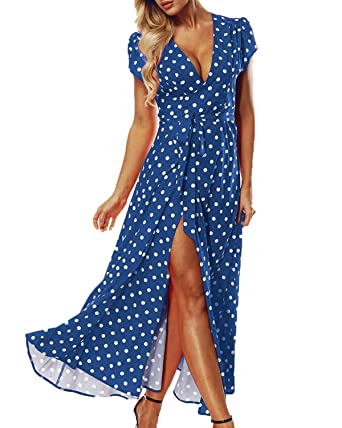 ACHIOOWA Mujer Vestido Elegante Casual Playa Bohemio Dress Lunares ...