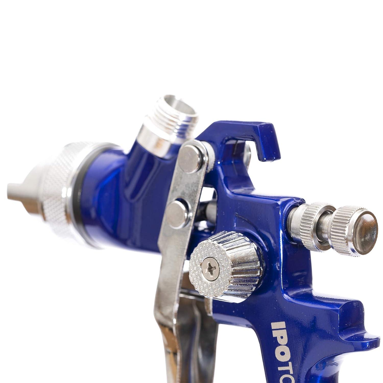 HVLP Lackierpistole Spritzpistole H-827P 2x D/üsensatz 1,7mm /& 2,0mm Profi Farbspr/ühsystem mit 600 ml Plastikbecher und Edelstahld/üse 1,4mm
