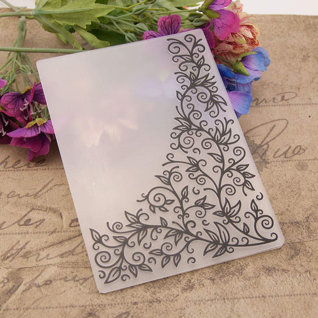 BUZHI Crafts Flower Corner Plastic Embossing Folders for Card Making Scrapbooking and Other Paper Crafts,4.13x5.79in