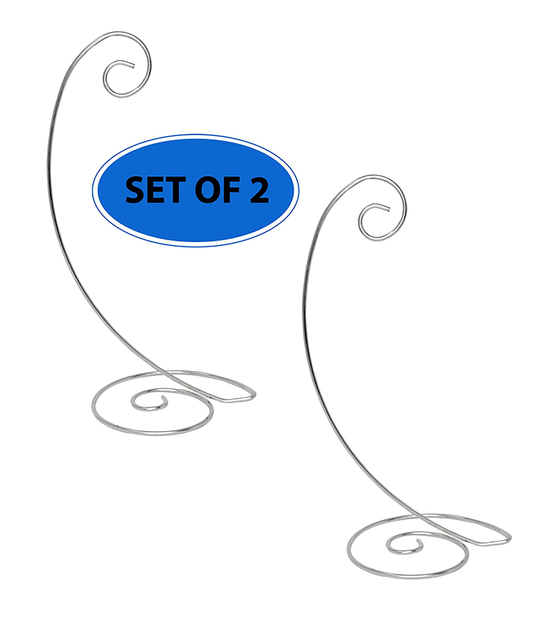 Home-X Spiral Ornament Stand. 13 inch. Chrome. Set of 2