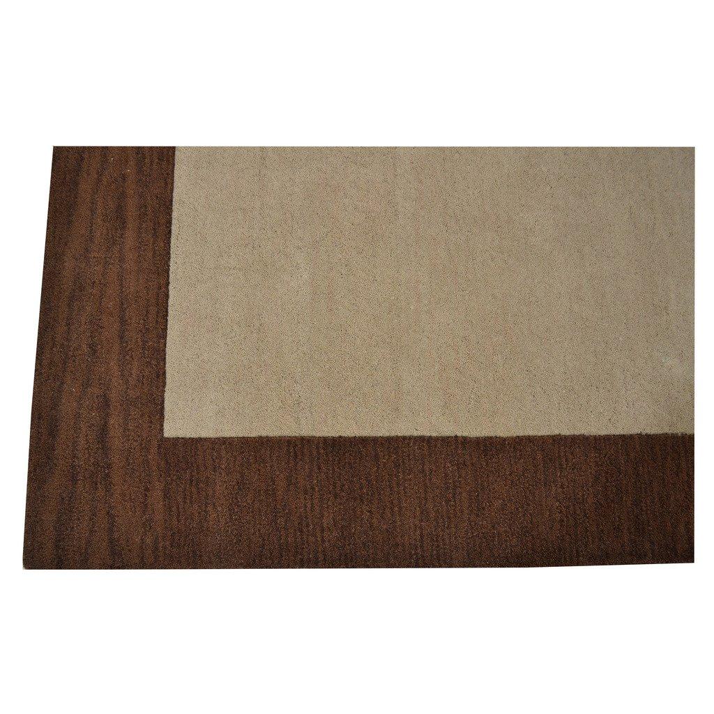 Rugsotic Carpets Hand Tufted Wool 4 X 6 Area Rug Soild Beige Brown K00201