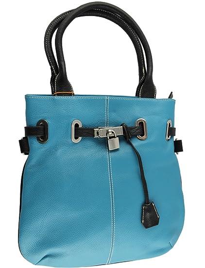 d4ff8bfaf05b Cavalieri Real Italian Leather Lock Detail Shoulder Messenger Bag 33cm x  33.5cm x 6cm Turquoise   Black  Amazon.co.uk  Shoes   Bags