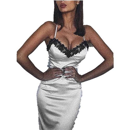 cfbec60a8d46 Kleid damen Kolylong® Frauen Elegant V-Ausschnitt Kleid mit Spitze ...