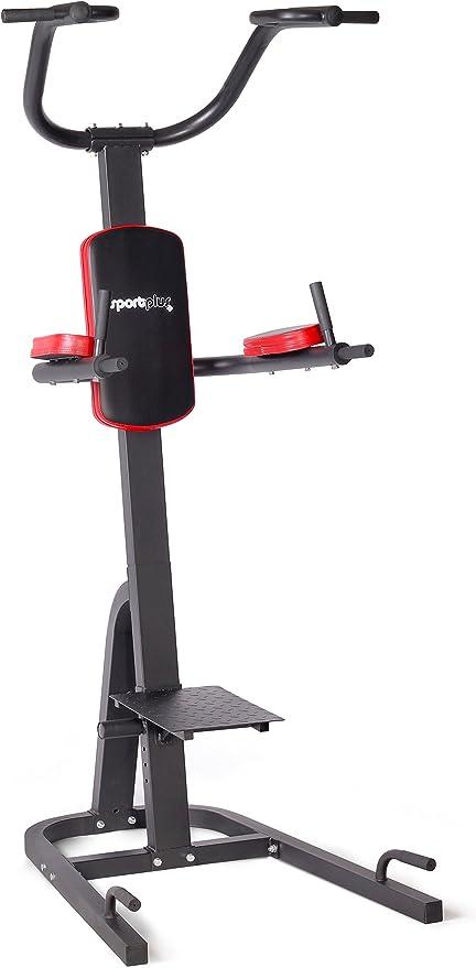 SportPlus Torre Multifuncional, Estación de Inmersión Plegable, Estación de Fitness para el Hogar con Numerosas Opciones de Entrenamiento, Seguridad ...