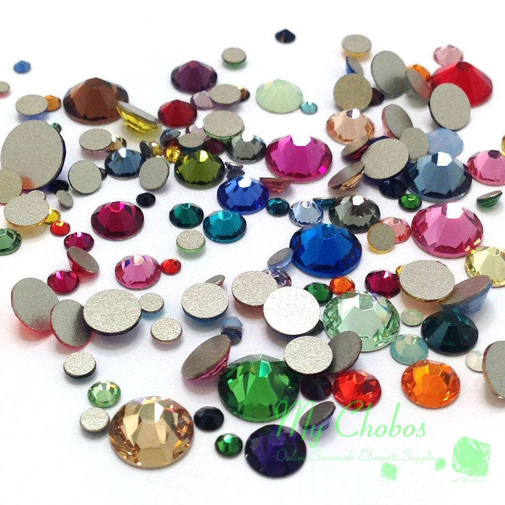 Mixed Sizes & Colors 144 pieces Swarovski 2058/2088 Crystal Flatbacks rhinestones nail art mixed with Sizes ss5, ss7, ss9, ss12, ss16, ss20, ss30 by Crystal-Wholesale
