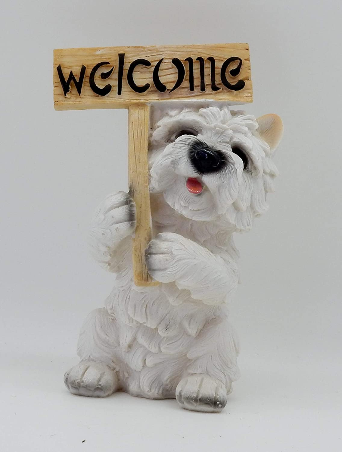 Green Pastures Wholesale 8'' Polyresin Westie Welcome Dog Figurine, Multi